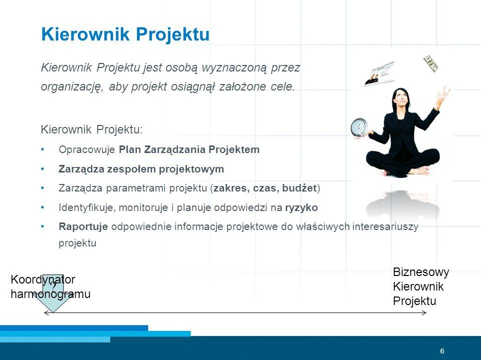 6 ? Kierownik Projektu Kierownik Projektu jest osobą wyznaczoną przez organizację, aby projekt osiągnął założone cele. Kierownik Projektu: Opracowuje