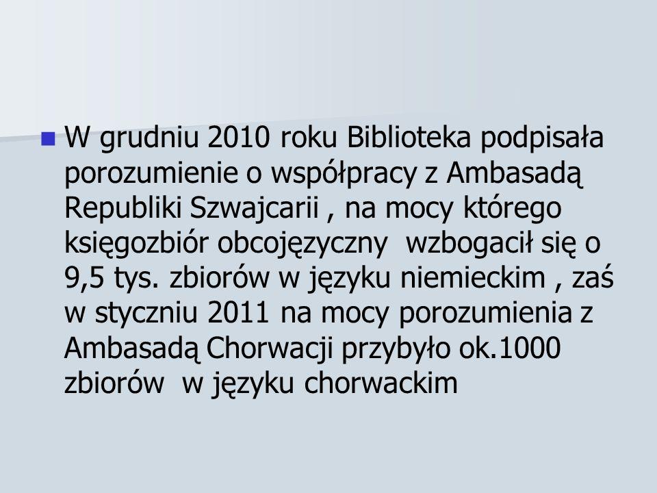 W grudniu 2010 roku Biblioteka podpisała porozumienie o współpracy z Ambasadą Republiki Szwajcarii, na mocy którego księgozbiór obcojęzyczny wzbogacił się o 9,5 tys.