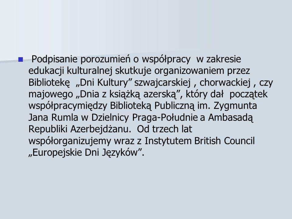 Podpisanie porozumień o współpracy w zakresie edukacji kulturalnej skutkuje organizowaniem przez Bibliotekę Dni Kultury szwajcarskiej, chorwackiej, czy majowego Dnia z książką azerską, który dał początek współpracymiędzy Biblioteką Publiczną im.