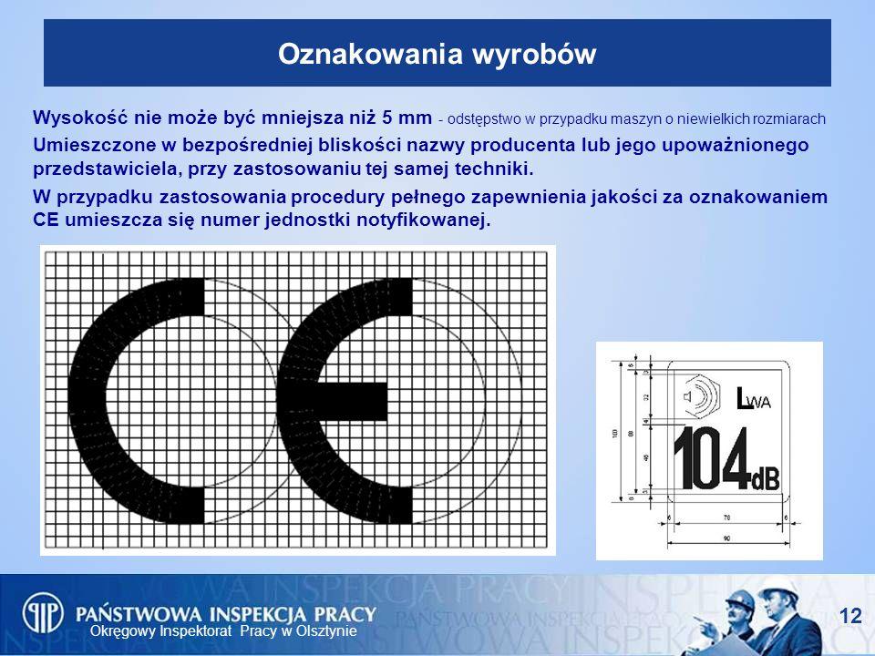 Okręgowy Inspektorat Pracy w Olsztynie 12 Oznakowania wyrobów Wysokość nie może być mniejsza niż 5 mm - odstępstwo w przypadku maszyn o niewielkich ro