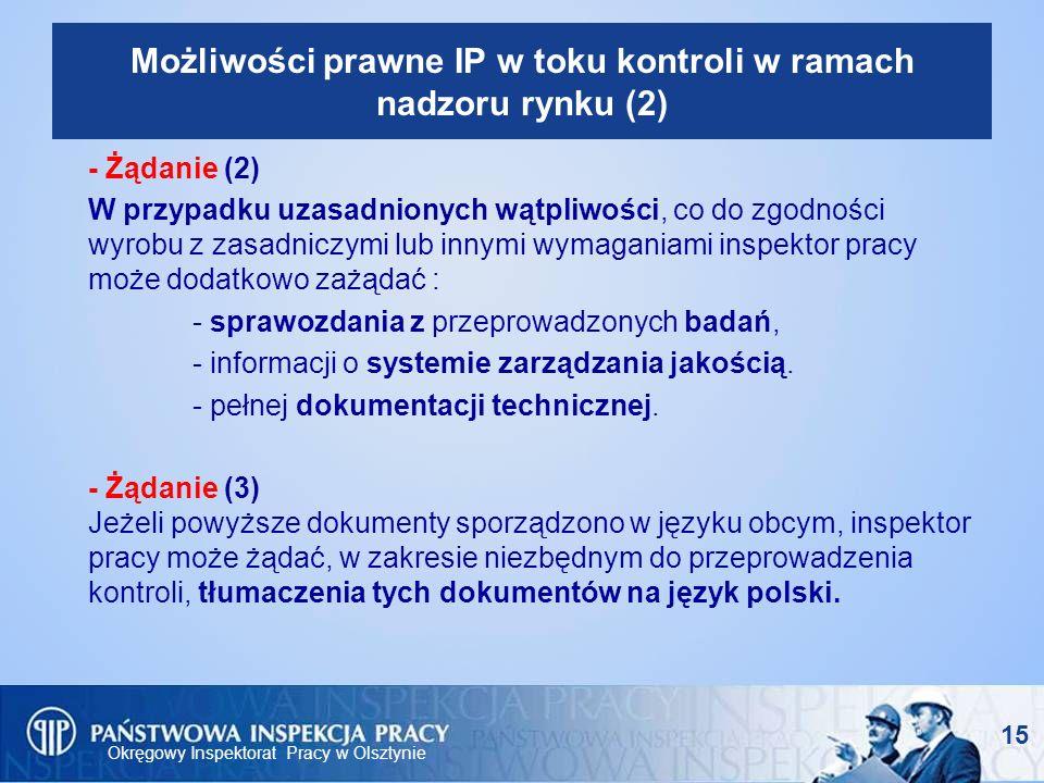 Okręgowy Inspektorat Pracy w Olsztynie 15 Możliwości prawne IP w toku kontroli w ramach nadzoru rynku (2) - Żądanie (2) W przypadku uzasadnionych wątp