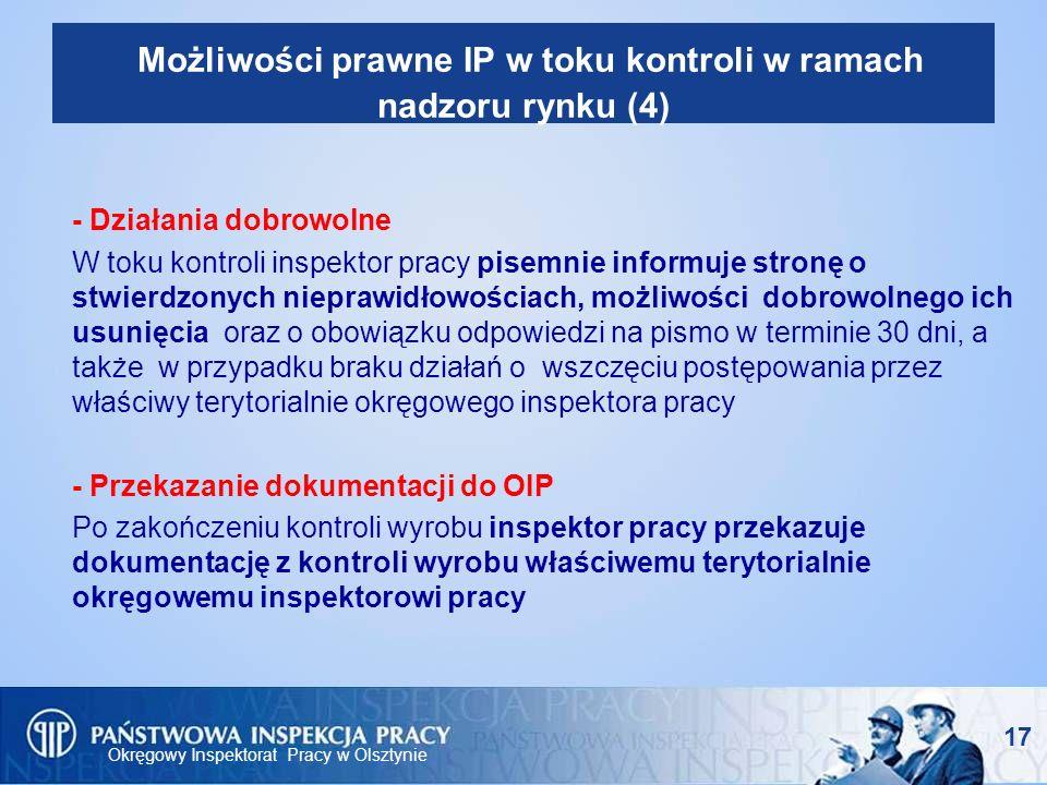 Okręgowy Inspektorat Pracy w Olsztynie 17 Możliwości prawne IP w toku kontroli w ramach nadzoru rynku (4) - Działania dobrowolne W toku kontroli inspe