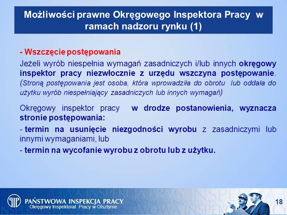 Okręgowy Inspektorat Pracy w Olsztynie 18 Możliwości prawne Okręgowego Inspektora Pracy w ramach nadzoru rynku (1) - Wszczęcie postępowania Jeżeli wyr