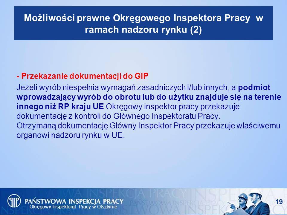 Okręgowy Inspektorat Pracy w Olsztynie 19 Możliwości prawne Okręgowego Inspektora Pracy w ramach nadzoru rynku (2) - Przekazanie dokumentacji do GIP J