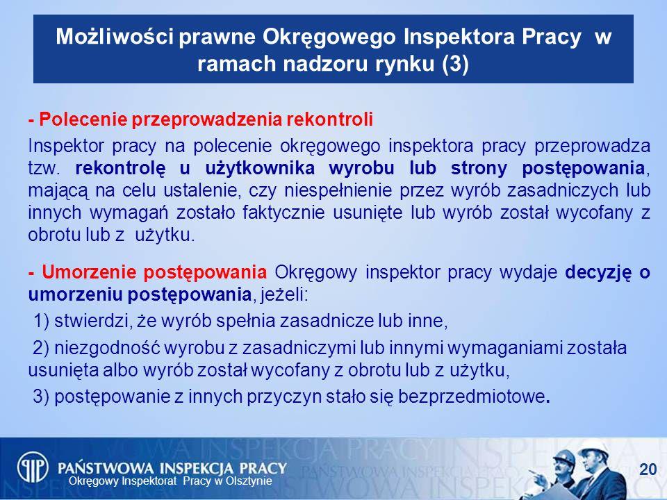 Okręgowy Inspektorat Pracy w Olsztynie 20 Możliwości prawne Okręgowego Inspektora Pracy w ramach nadzoru rynku (3) - Polecenie przeprowadzenia rekontr