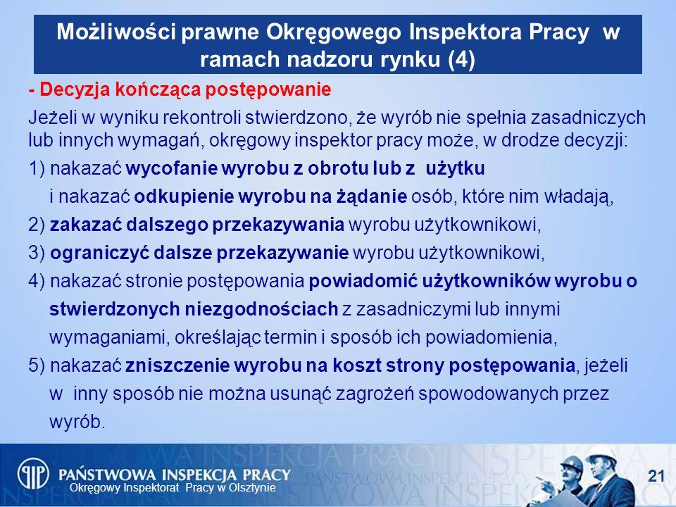 Okręgowy Inspektorat Pracy w Olsztynie 21 Możliwości prawne Okręgowego Inspektora Pracy w ramach nadzoru rynku (4) - Decyzja kończąca postępowanie Jeż