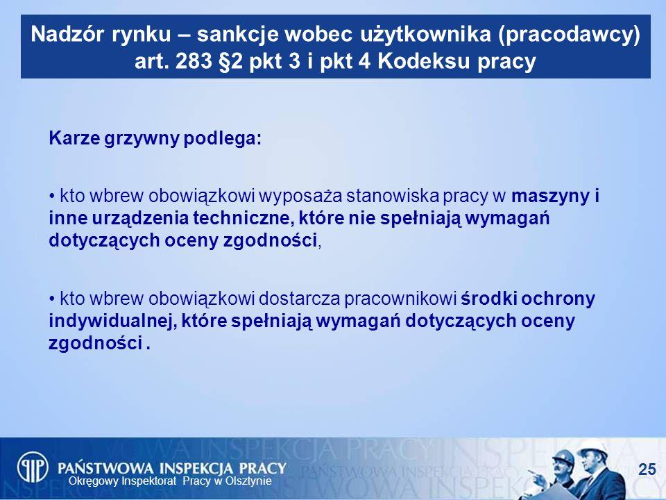 Okręgowy Inspektorat Pracy w Olsztynie 25 Nadzór rynku – sankcje wobec użytkownika (pracodawcy) art. 283 §2 pkt 3 i pkt 4 Kodeksu pracy Karze grzywny