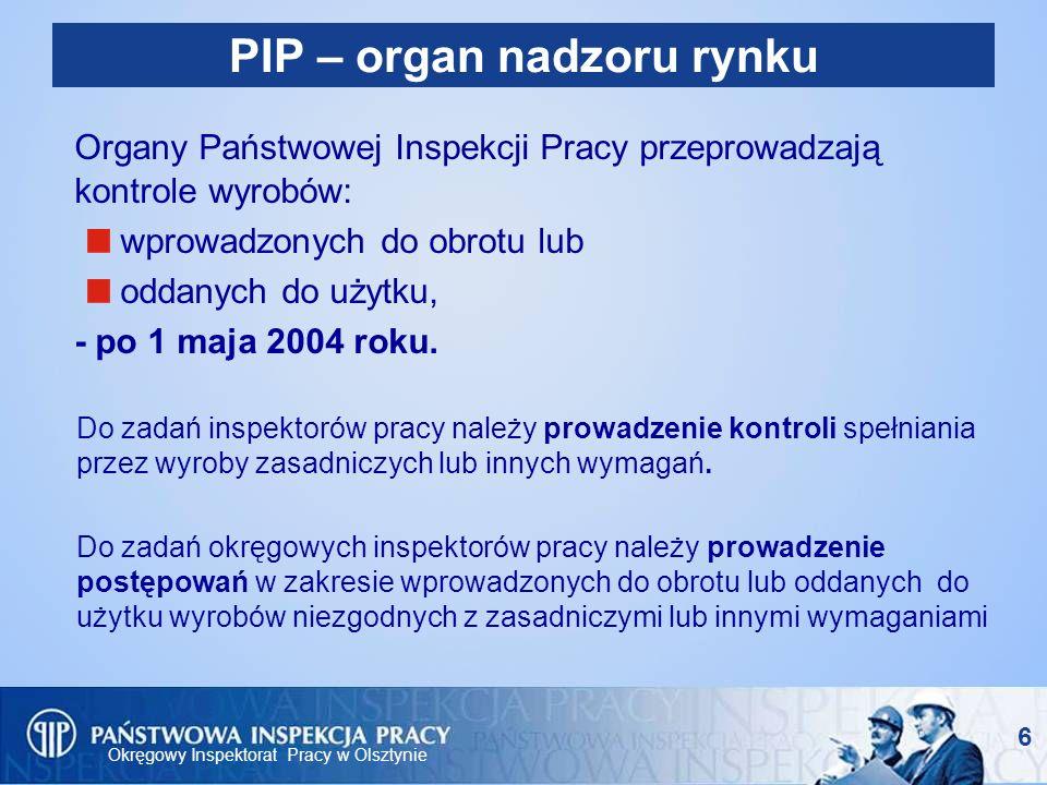 Okręgowy Inspektorat Pracy w Olsztynie 6 PIP – organ nadzoru rynku Organy Państwowej Inspekcji Pracy przeprowadzają kontrole wyrobów: wprowadzonych do