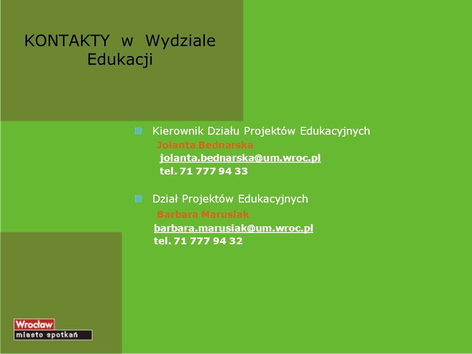 Kierownik Działu Projektów Edukacyjnych Jolanta Bednarska jolanta.bednarska@um.wroc.pl tel. 71 777 94 33 Dział Projektów Edukacyjnych Barbara Marusiak