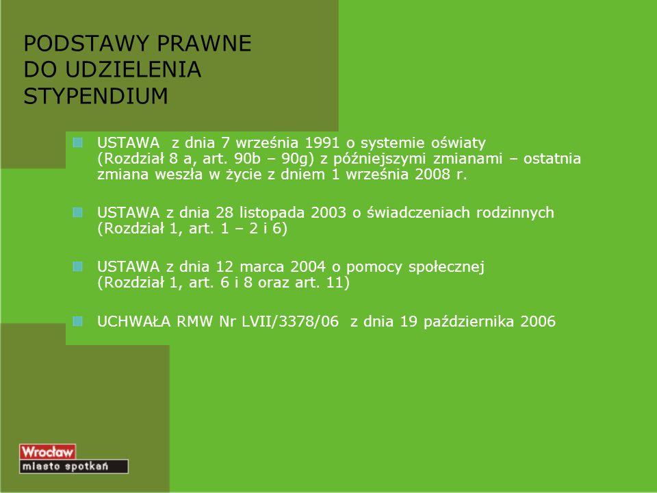 PODSTAWY PRAWNE DO UDZIELENIA STYPENDIUM USTAWA z dnia 7 września 1991 o systemie oświaty (Rozdział 8 a, art. 90b – 90g) z późniejszymi zmianami – ost