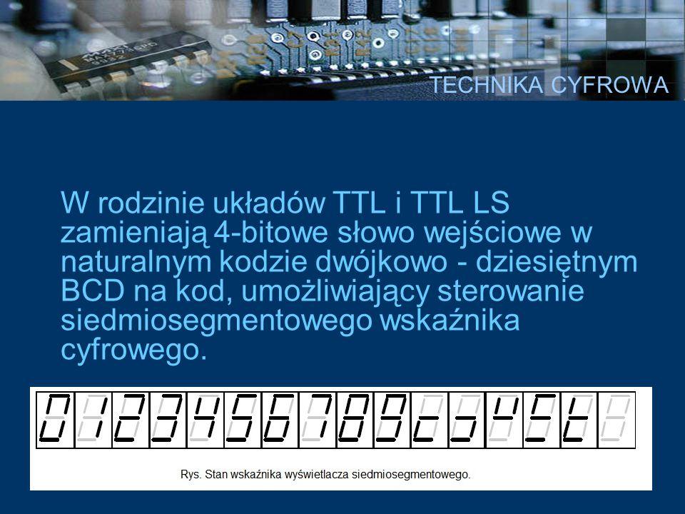 TECHNIKA CYFROWA W rodzinie układów TTL i TTL LS zamieniają 4-bitowe słowo wejściowe w naturalnym kodzie dwójkowo - dziesiętnym BCD na kod, umożliwiaj