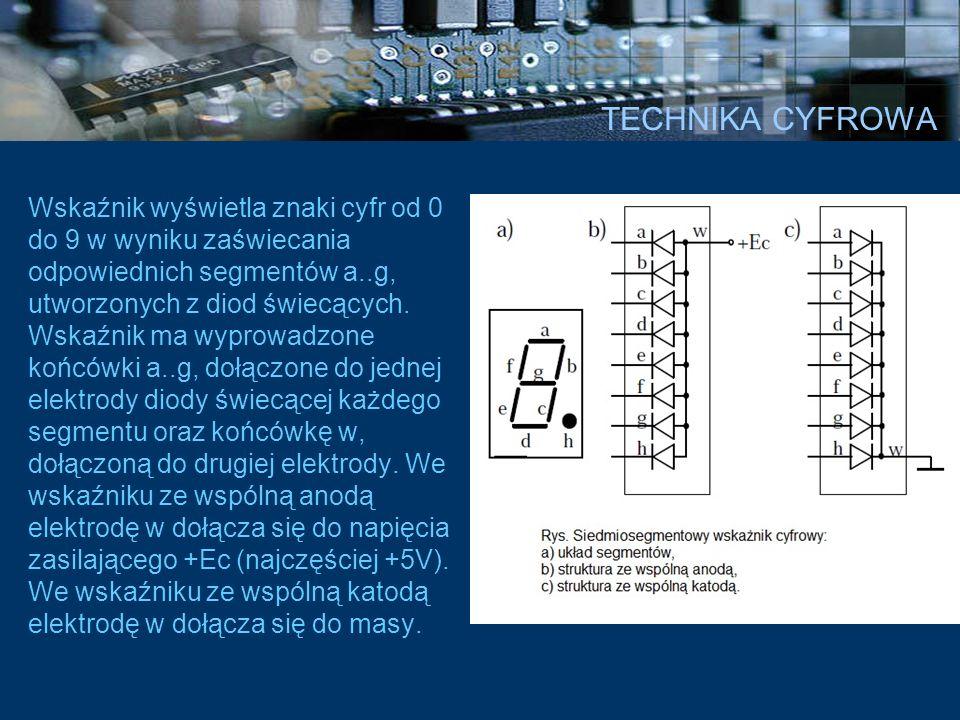 TECHNIKA CYFROWA Wskaźnik wyświetla znaki cyfr od 0 do 9 w wyniku zaświecania odpowiednich segmentów a..g, utworzonych z diod świecących. Wskaźnik ma