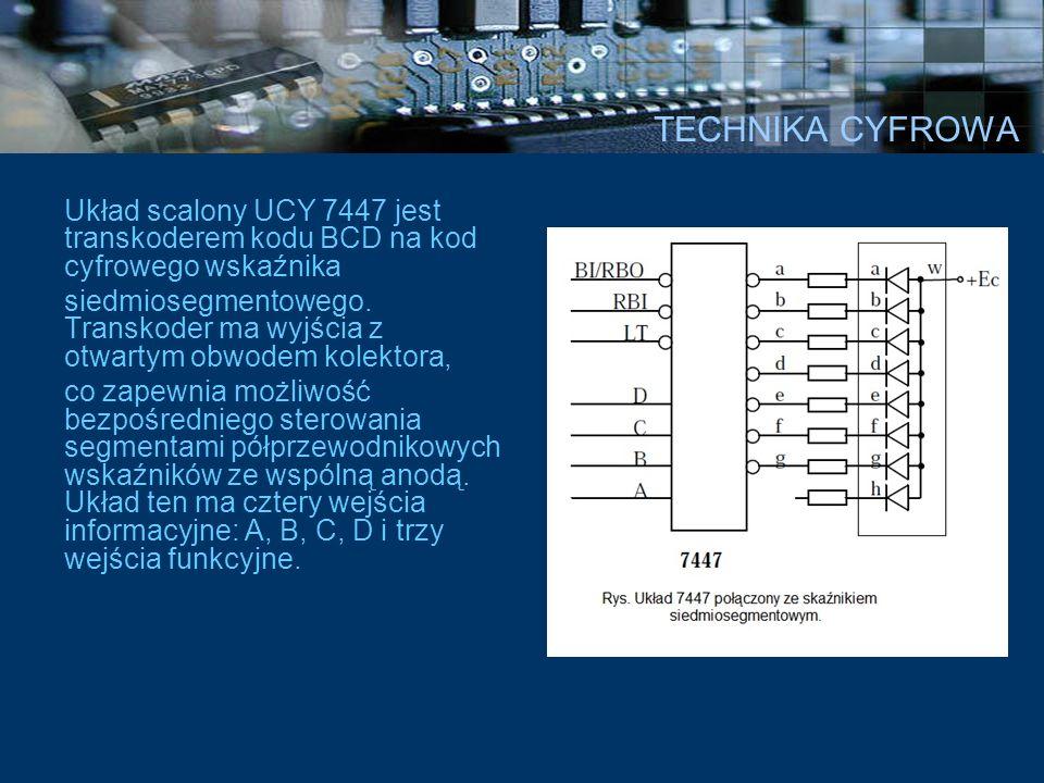 TECHNIKA CYFROWA Układ scalony UCY 7447 jest transkoderem kodu BCD na kod cyfrowego wskaźnika siedmiosegmentowego. Transkoder ma wyjścia z otwartym ob