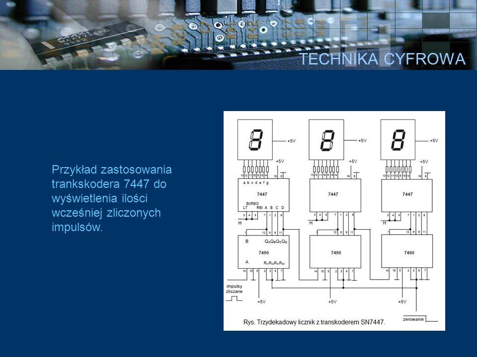 Przykład zastosowania trankskodera 7447 do wyświetlenia ilości wcześniej zliczonych impulsów.
