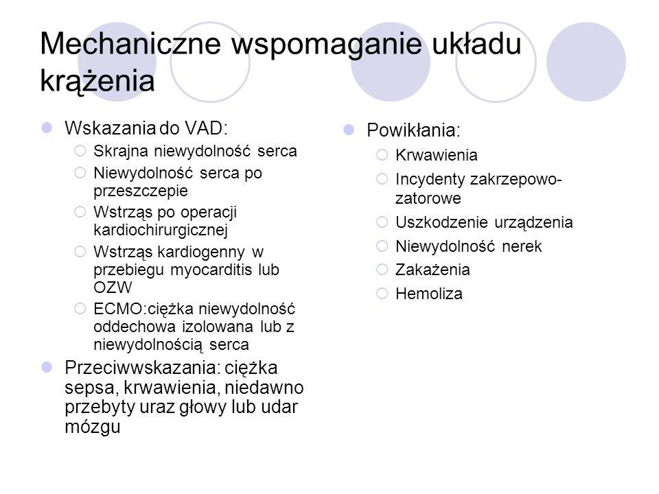 pLVAD LVAD wszczepiane przezskórnie Nie wymagają sternotomii, ani torakotomii W porównaniu z IABP lepszy efekt hemodynamiczny, ale brak wpływu na śmiertelność [5] 2 systemy: TandemHeart i Impella LP 2.5 TandemHeart-więcej powikłań krwotocznych i częstsze neidokrwienie kkd Impella-brak różnicy w stosunku do IABP jeśli chodzi o ilość powikłań