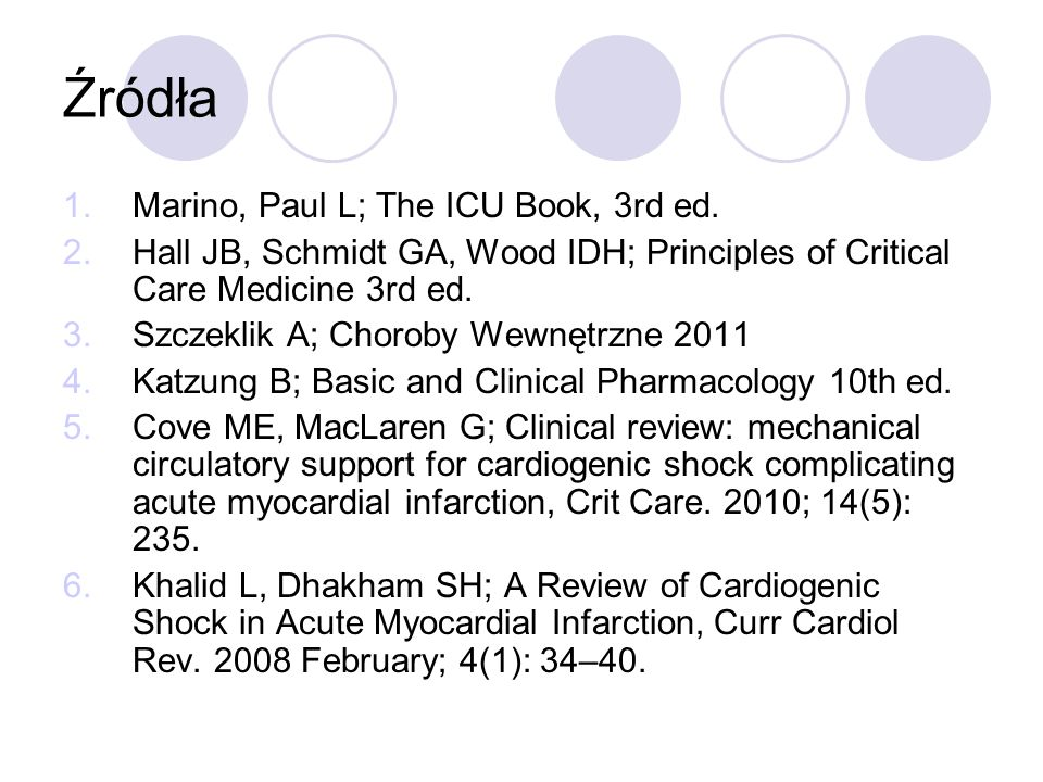 Źródła 1.Marino, Paul L; The ICU Book, 3rd ed. 2.Hall JB, Schmidt GA, Wood IDH; Principles of Critical Care Medicine 3rd ed. 3.Szczeklik A; Choroby We