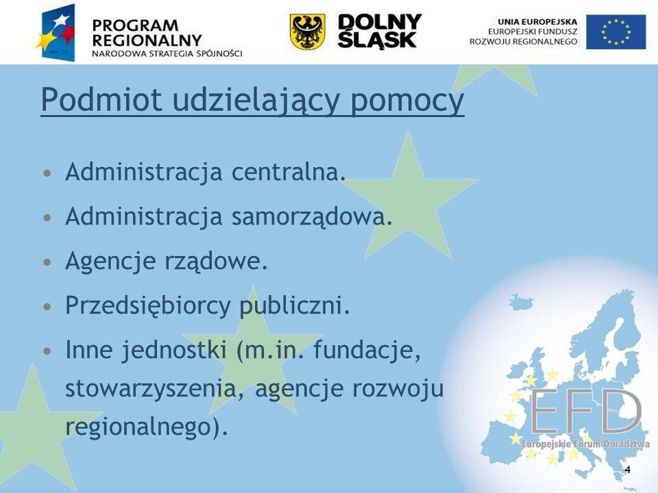 15 Pomoc publiczna w RPO W D 2007-2013 Art 21 ustawy o zasadach prowadzenia polityki rozwoju: W zakresie, w którym finansowanie projektów w ramach programów operacyjnych stanowi pomoc spełniającą przesłanki określone w art.