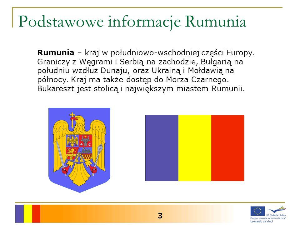 Podstawowe informacje Rumunia 3 Rumunia – kraj w południowo-wschodniej części Europy. Graniczy z Węgrami i Serbią na zachodzie, Bułgarią na południu w
