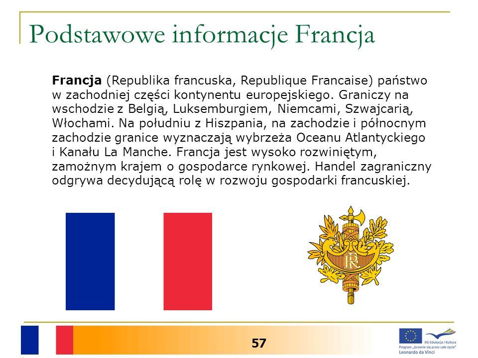 Podstawowe informacje Francja 57 Francja (Republika francuska, Republique Francaise) państwo w zachodniej części kontynentu europejskiego. Graniczy na