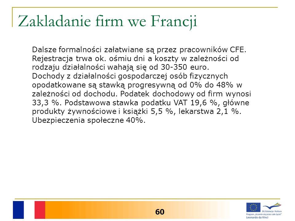 Zakladanie firm we Francji 60 Dalsze formalności załatwiane są przez pracowników CFE. Rejestracja trwa ok. ośmiu dni a koszty w zależności od rodzaju