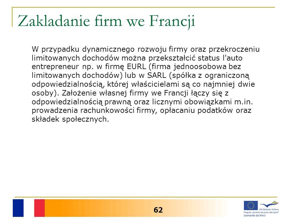 Zakladanie firm we Francji 62 W przypadku dynamicznego rozwoju firmy oraz przekroczeniu limitowanych dochodów można przekształcić status l auto entrepreneur np.