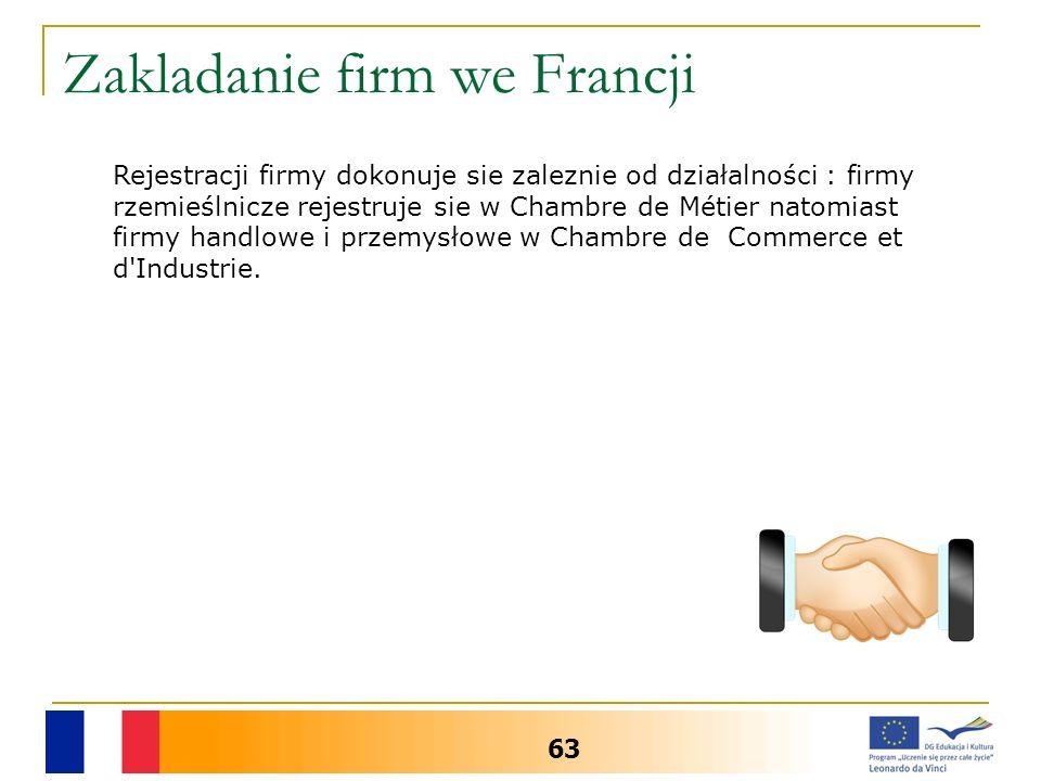 Zakladanie firm we Francji 63 Rejestracji firmy dokonuje sie zaleznie od działalności : firmy rzemieślnicze rejestruje sie w Chambre de Métier natomiast firmy handlowe i przemysłowe w Chambre de Commerce et d Industrie.
