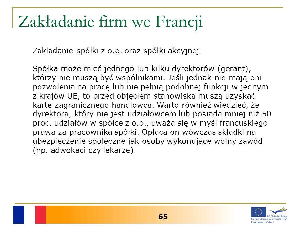 Zakładanie firm we Francji 65 Zakładanie spółki z o.o.