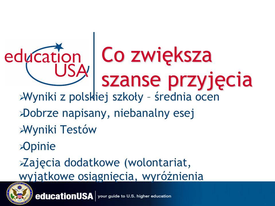 Co zwiększa szanse przyjęcia Wyniki z polskiej szkoły – średnia ocen Dobrze napisany, niebanalny esej Wyniki Testów Opinie Zajęcia dodatkowe (wolontariat, wyjątkowe osiągnięcia, wyróżnienia
