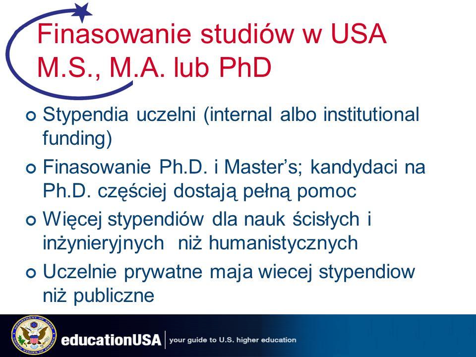 Finasowanie studiów w USA M.S., M.A.
