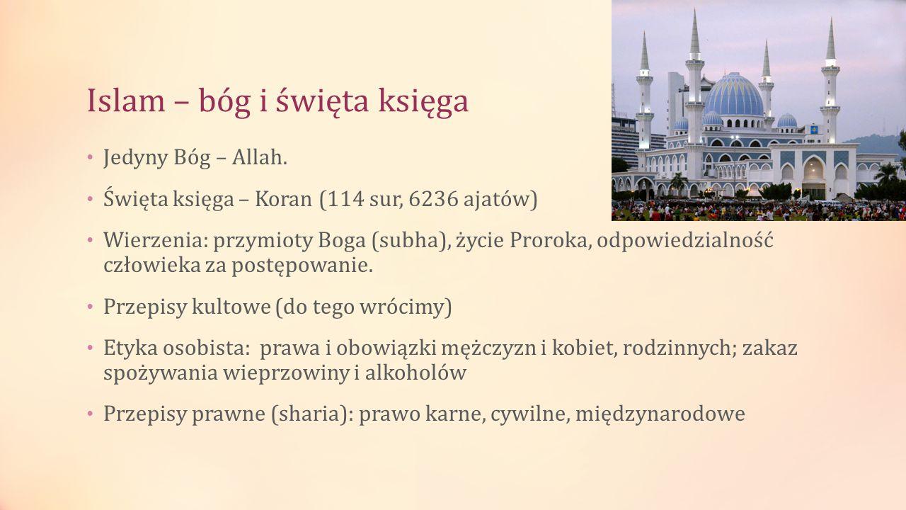Islam – bóg i święta księga Jedyny Bóg – Allah. Święta księga – Koran (114 sur, 6236 ajatów) Wierzenia: przymioty Boga (subha), życie Proroka, odpowie