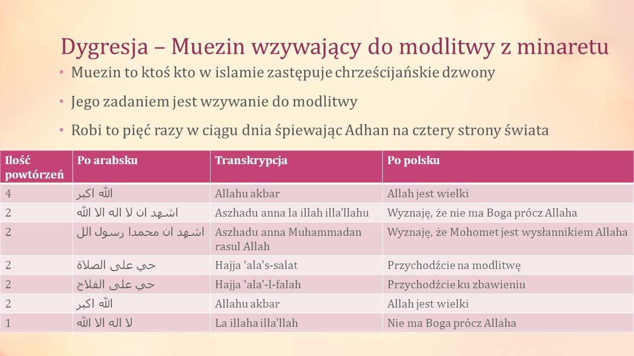 Dygresja – Muezin wzywający do modlitwy z minaretu Muezin to ktoś kto w islamie zastępuje chrześcijańskie dzwony Jego zadaniem jest wzywanie do modlit