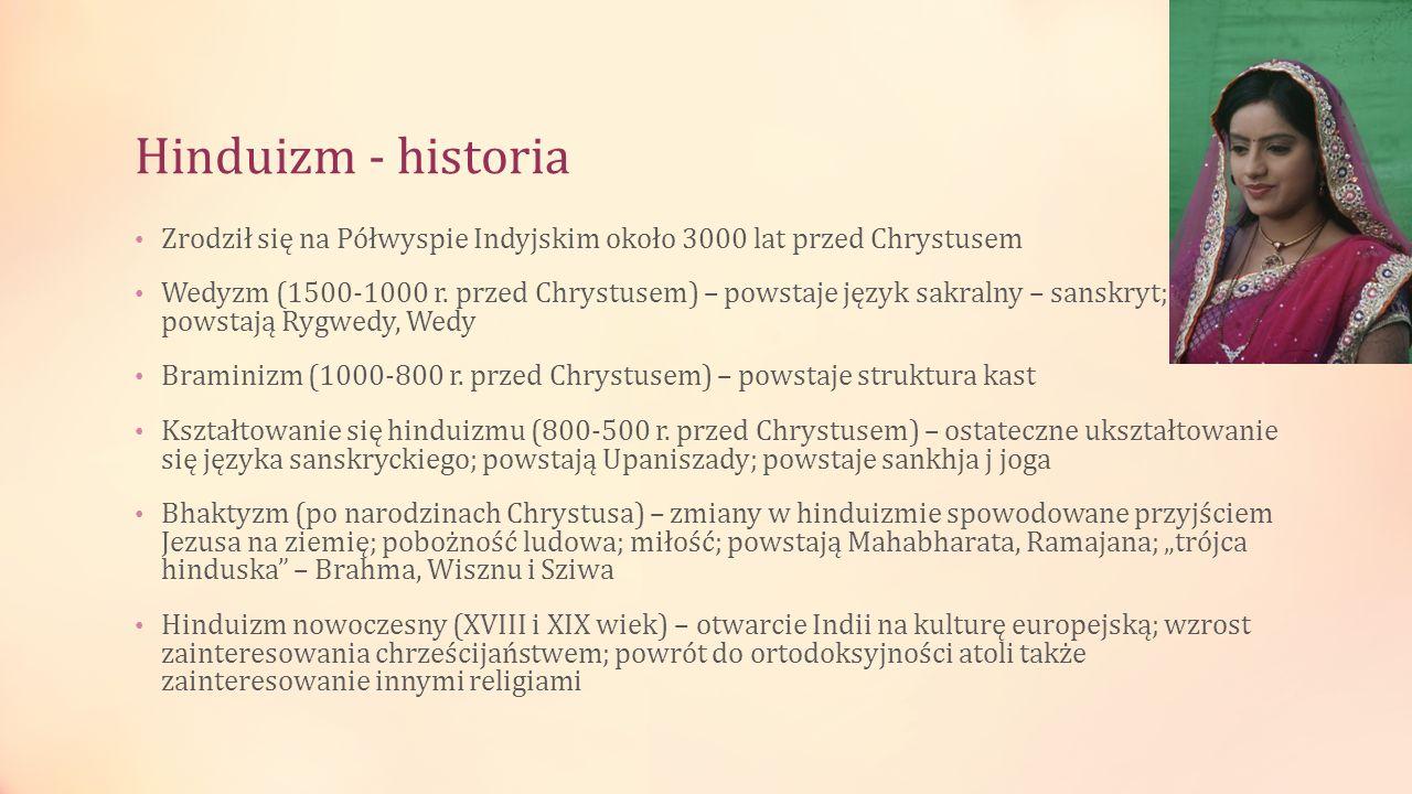 Hinduizm - historia Zrodził się na Półwyspie Indyjskim około 3000 lat przed Chrystusem Wedyzm (1500-1000 r. przed Chrystusem) – powstaje język sakraln