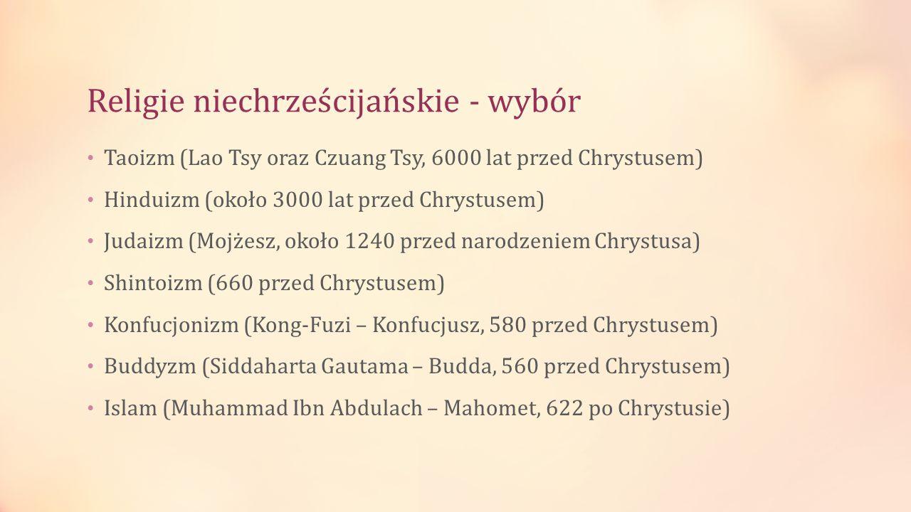 Religie niechrześcijańskie - wybór Taoizm (Lao Tsy oraz Czuang Tsy, 6000 lat przed Chrystusem) Hinduizm (około 3000 lat przed Chrystusem) Judaizm (Moj