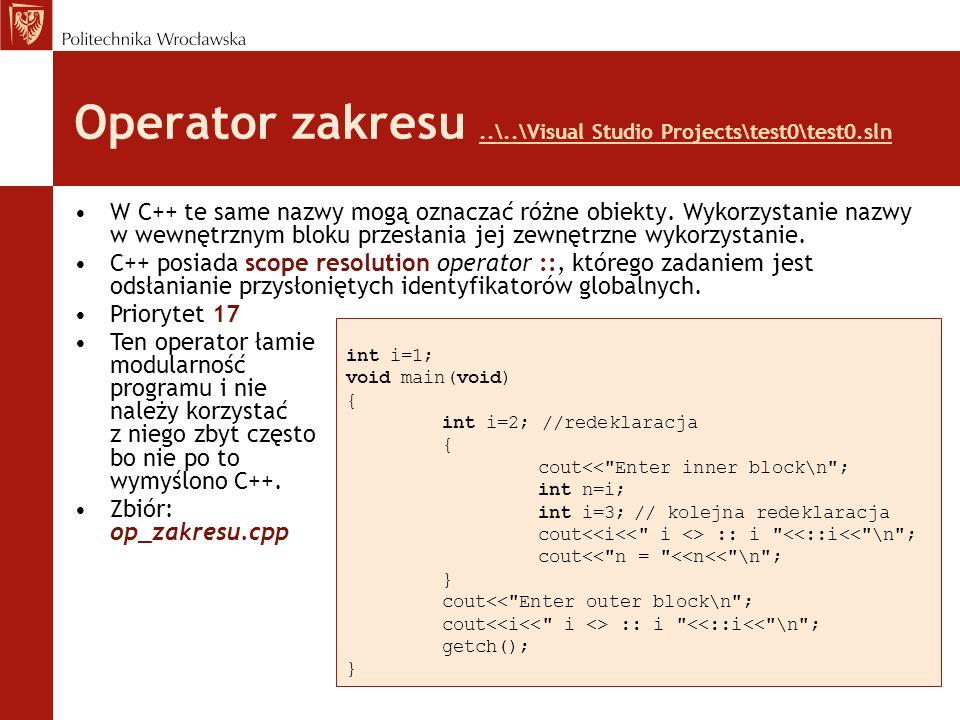 Operator zakresu..\..\Visual Studio Projects\test0\test0.sln..\..\Visual Studio Projects\test0\test0.sln W C++ te same nazwy mogą oznaczać różne obiek