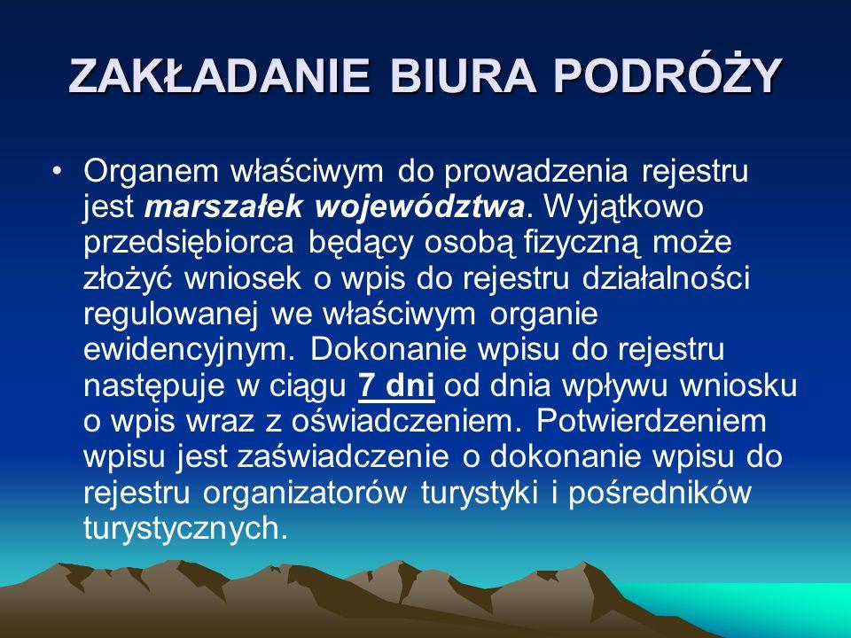 Do wniosku należy dołączyć oświadczenie: Oświadczam, że dane zawarte we wniosku o wpis do rejestru organizatorów i pośredników turystycznych są kompletne i zgodne z prawdą, spełniam warunki wykonywania działalności w zakresie organizowania imprez turystycznych oraz pośredniczenia na zlecenie klientów w zawieraniu umów o świadczenie usług turystycznych, określone w ustawie z dnia 29 sierpnia 1997r.