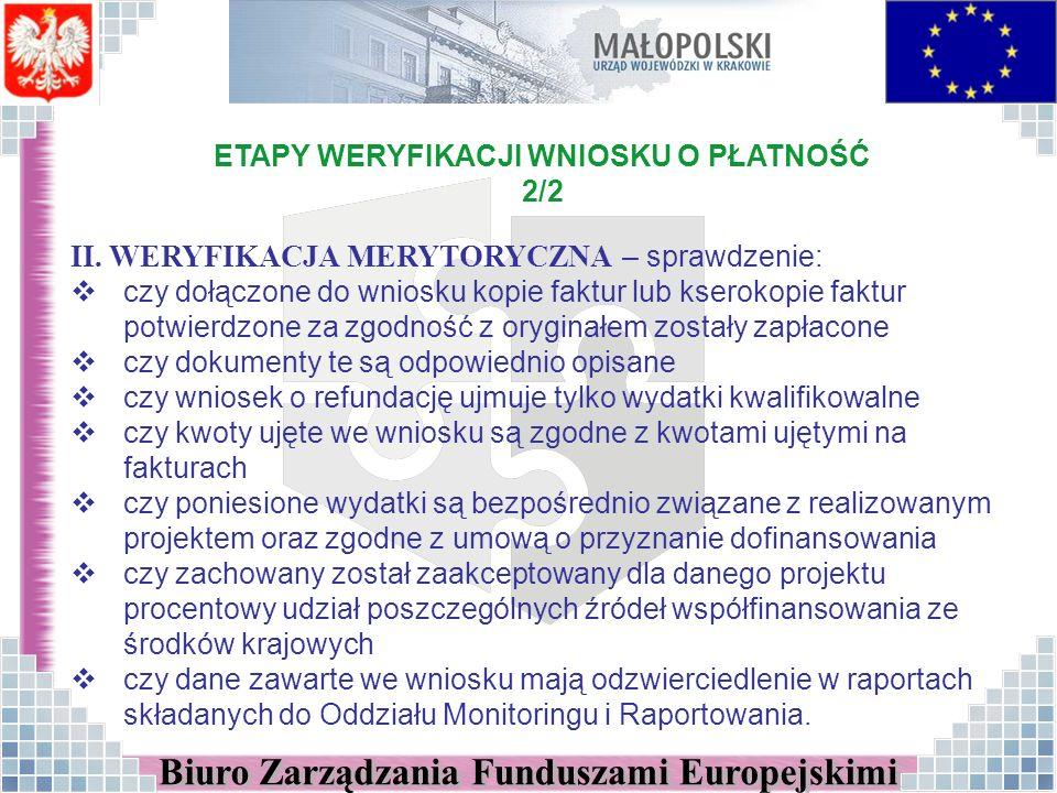 ETAPY WERYFIKACJI WNIOSKU O PŁATNOŚĆ 2/2 II.