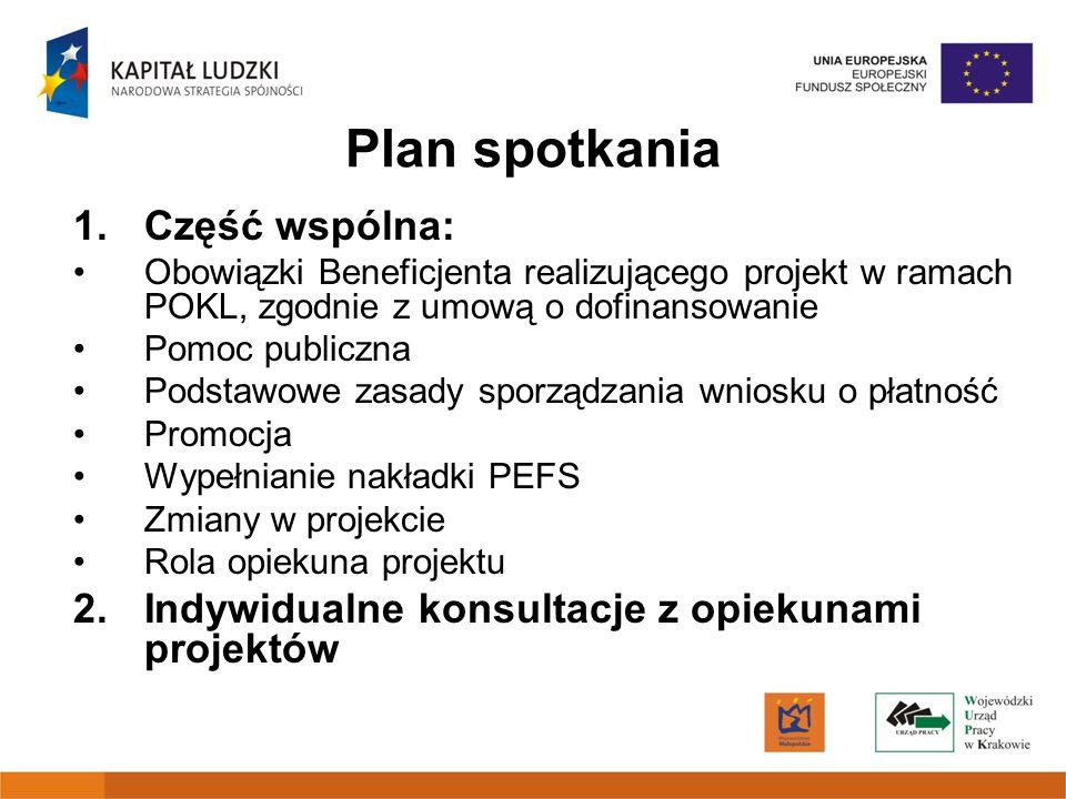 Plan spotkania 1. Część wspólna: Obowiązki Beneficjenta realizującego projekt w ramach POKL, zgodnie z umową o dofinansowanie Pomoc publiczna Podstawo