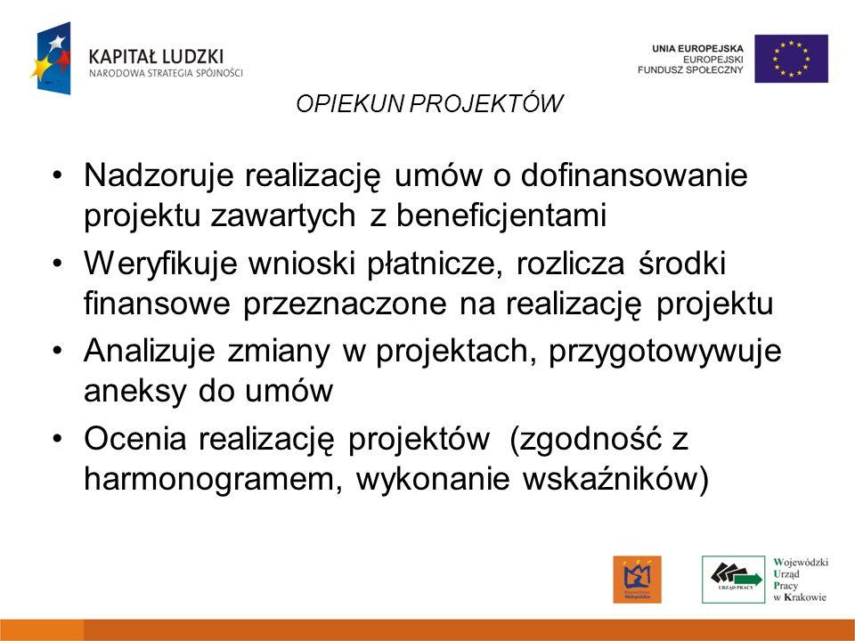 OPIEKUN PROJEKTÓW Nadzoruje realizację umów o dofinansowanie projektu zawartych z beneficjentami Weryfikuje wnioski płatnicze, rozlicza środki finanso