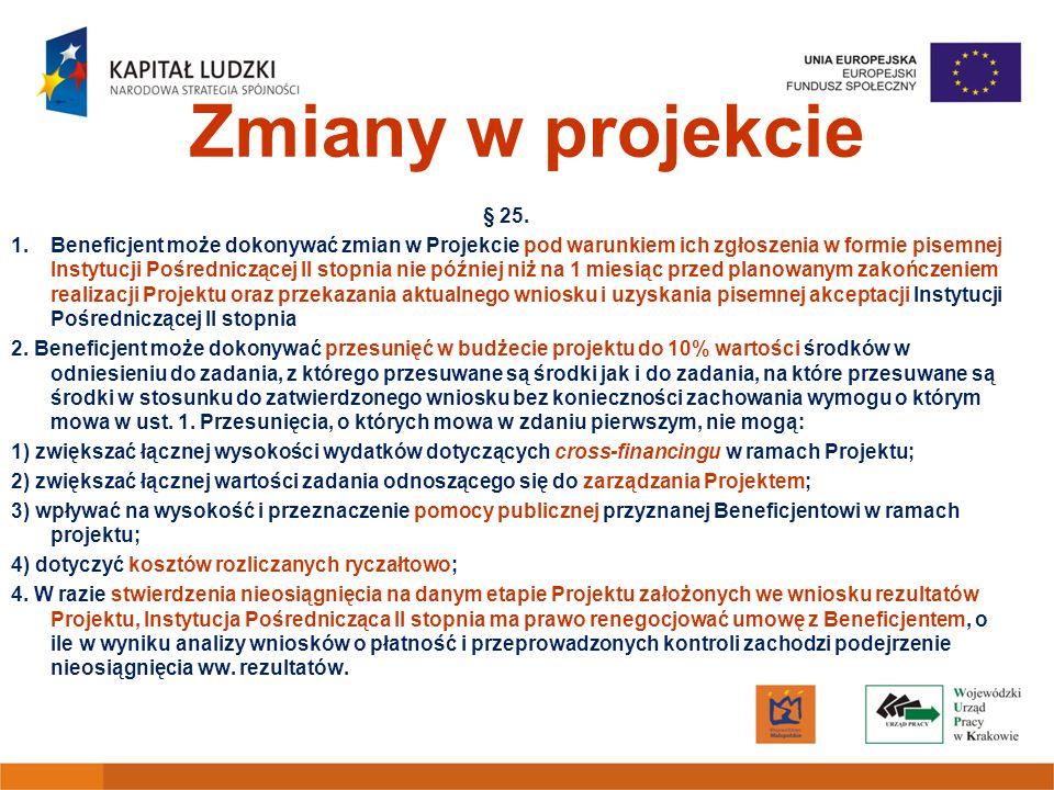 Zmiany w projekcie § 25. 1.Beneficjent może dokonywać zmian w Projekcie pod warunkiem ich zgłoszenia w formie pisemnej Instytucji Pośredniczącej II st