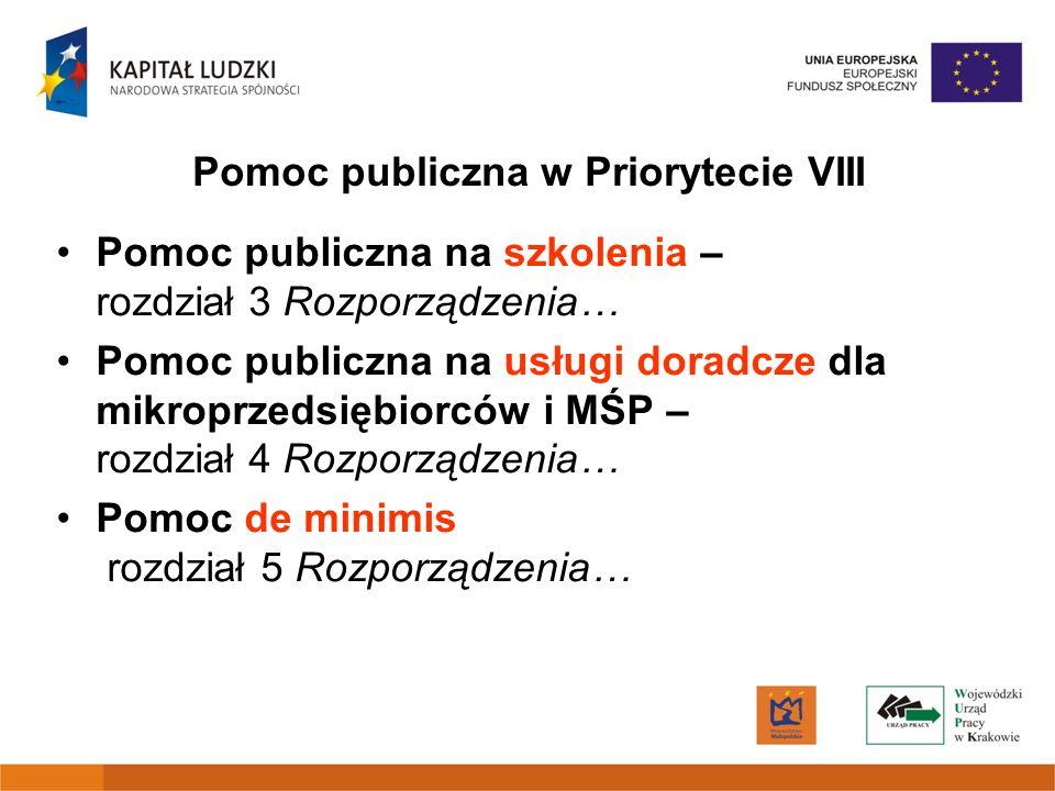 Pomoc publiczna w Priorytecie VIII Pomoc publiczna na szkolenia – rozdział 3 Rozporządzenia… Pomoc publiczna na usługi doradcze dla mikroprzedsiębiorc