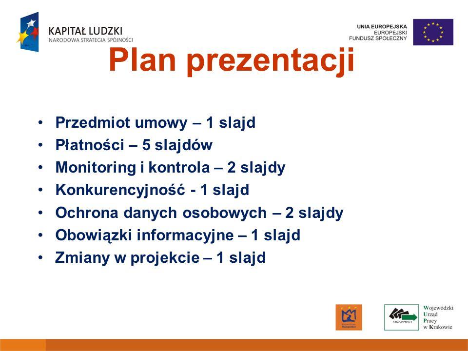 Plan prezentacji Przedmiot umowy – 1 slajd Płatności – 5 slajdów Monitoring i kontrola – 2 slajdy Konkurencyjność - 1 slajd Ochrona danych osobowych –