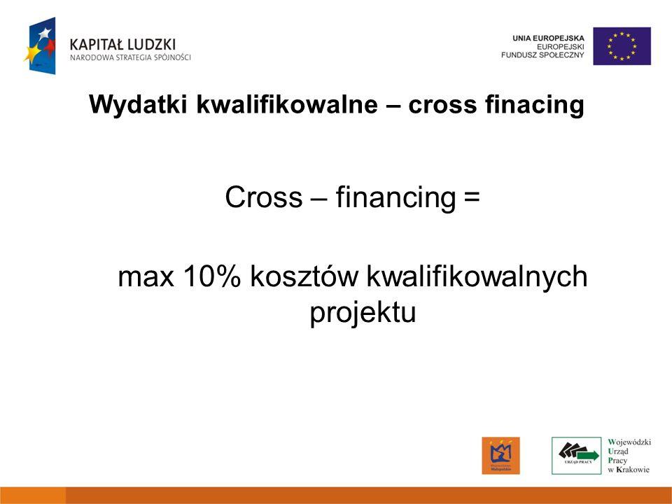 Cross – financing = max 10% kosztów kwalifikowalnych projektu Wydatki kwalifikowalne – cross finacing