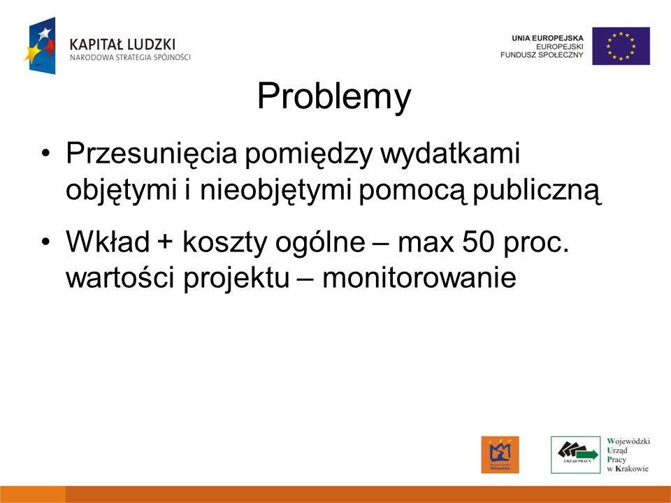 Przesunięcia pomiędzy wydatkami objętymi i nieobjętymi pomocą publiczną Wkład + koszty ogólne – max 50 proc. wartości projektu – monitorowanie Problem