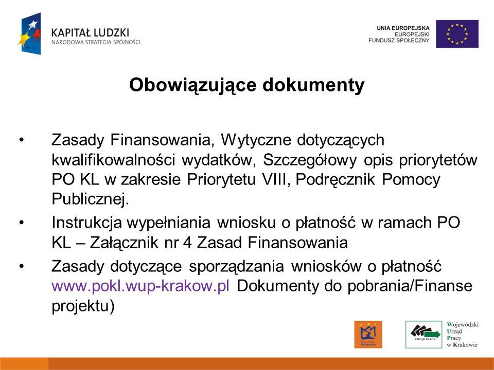 Obowiązujące dokumenty Zasady Finansowania, Wytyczne dotyczących kwalifikowalności wydatków, Szczegółowy opis priorytetów PO KL w zakresie Priorytetu