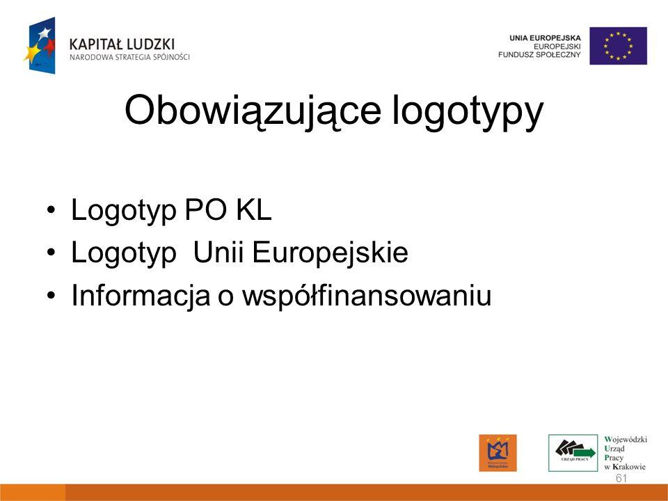 Obowiązujące logotypy Logotyp PO KL Logotyp Unii Europejskie Informacja o współfinansowaniu 61