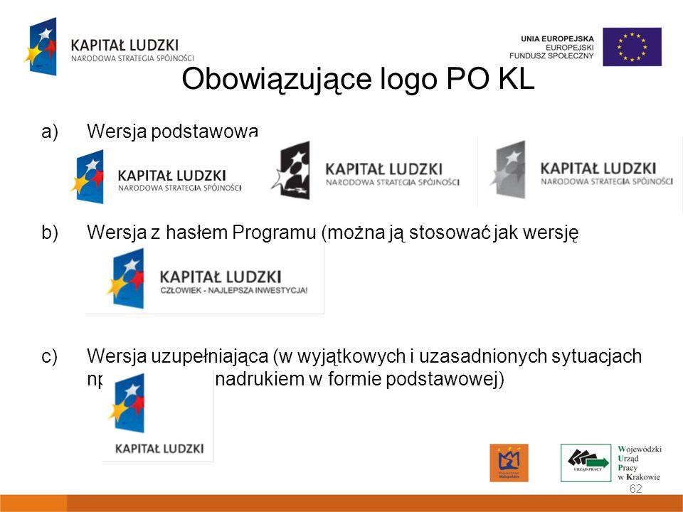 Obowiązujące logo PO KL a)Wersja podstawowa b)Wersja z hasłem Programu (można ją stosować jak wersję podstawową) c)Wersja uzupełniająca (w wyjątkowych