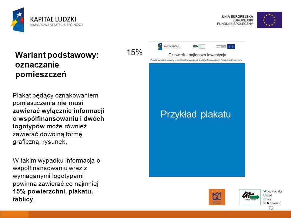 Wariant podstawowy: oznaczanie pomieszczeń Plakat będący oznakowaniem pomieszczenia nie musi zawierać wyłącznie informacji o współfinansowaniu i dwóch