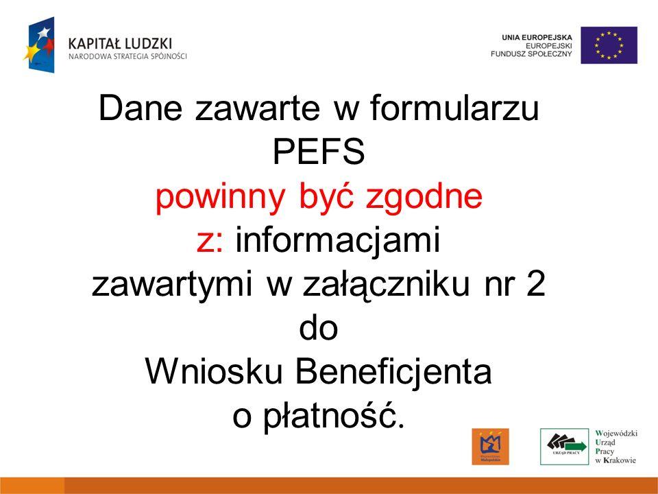 Dane zawarte w formularzu PEFS powinny być zgodne z: informacjami zawartymi w załączniku nr 2 do Wniosku Beneficjenta o płatność.