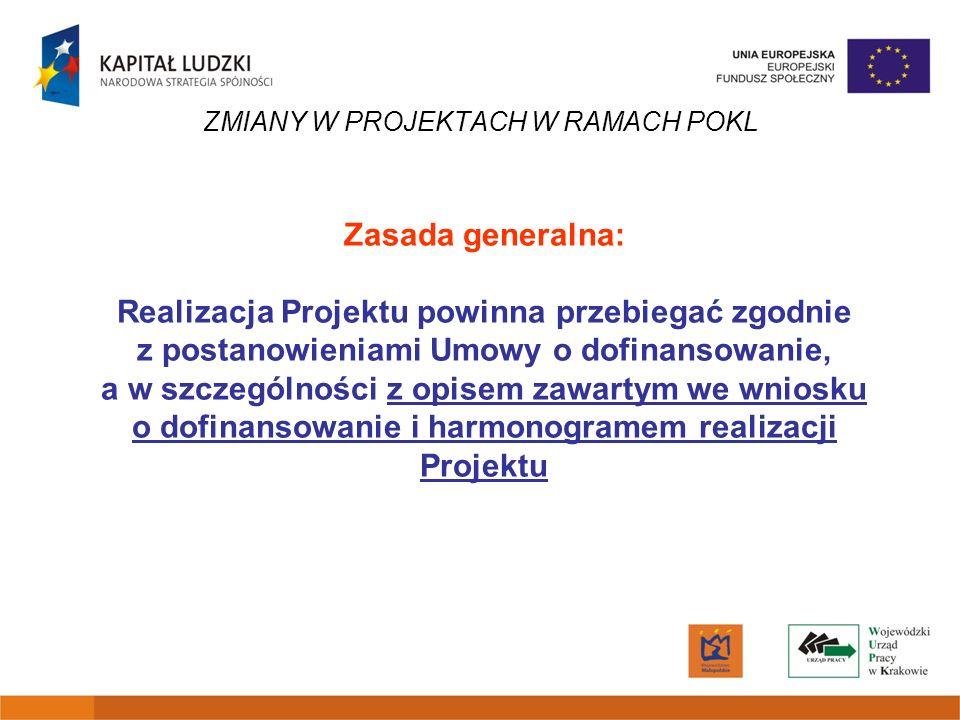 ZMIANY W PROJEKTACH W RAMACH POKL Zasada generalna: Realizacja Projektu powinna przebiegać zgodnie z postanowieniami Umowy o dofinansowanie, a w szcze