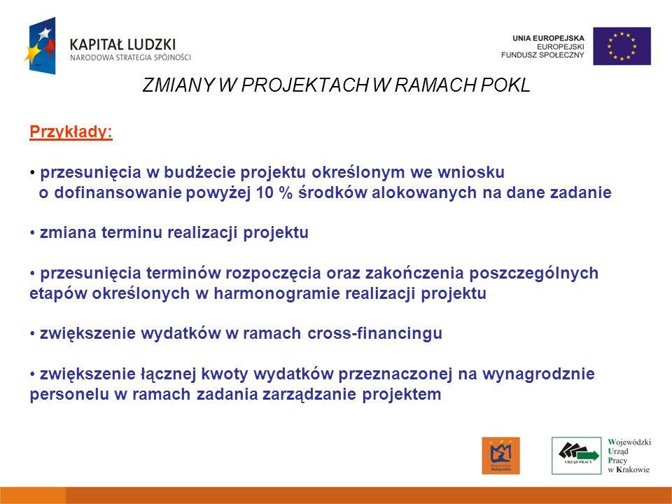 ZMIANY W PROJEKTACH W RAMACH POKL Przykłady: przesunięcia w budżecie projektu określonym we wniosku o dofinansowanie powyżej 10 % środków alokowanych